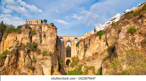 Famous Puente Nuevo Bridge's Arch in Ronda historic city center