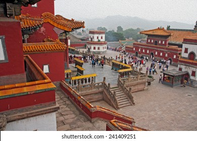 famous Puning temple s in Chengde, china,  stylized and filtered to resemble an oil painting