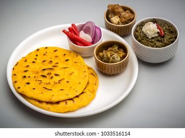 Famous Punjabi food - Makki di roti and sarson ka saag