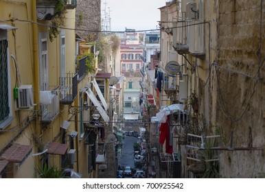 Famous quarter Quartieri Spagnoli in Naples, Italy