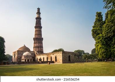 Famous Qutub Minar, the tallest minaret in India, located  in Delhi, India, UNESCO world heritage cite - architecture background.