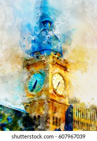 The famous railway station in Paris, France. Lyonsky station in bright watercolor paints of digital painting