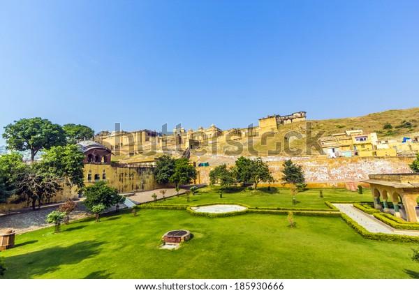 Famous Rajasthan landmark Amber Fort - Amer Fort, Rajasthan, India
