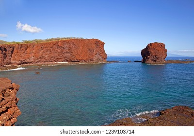Famous red cliffs on Lanai island, Hawaii