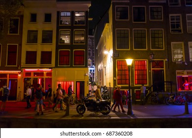 The famous red light district of Amsterdam - AMSTERDAM / THE NETHERLANDS - JULY 19, 2017