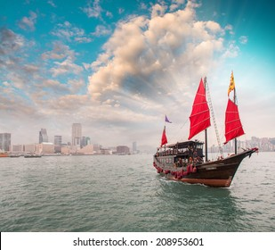Famous Red Sails Ship crossing the strait from Hong Kong to Kowloon.