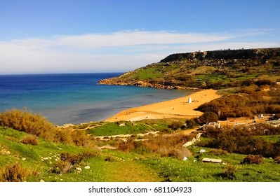 Famous red sand Ramla Bay / Beach in Gozo, Malta