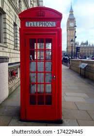 Famous Red Telephone Booth, Big Ben and Houses of Parliament in London, UK.