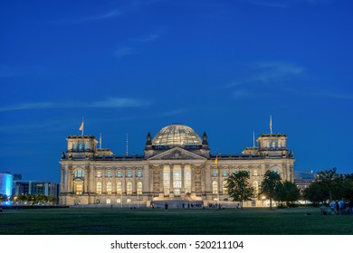 Famous Reichstag building, seat of the German Parliament (Deutscher Bundestag), in the evening, Berlin, Germany, Europe