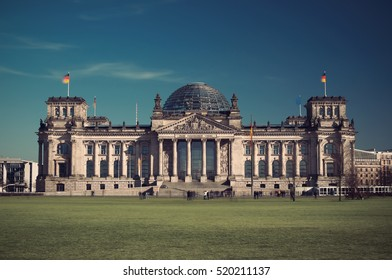 Famous Reichstag building, seat of the German Parliament (Deutscher Bundestag), Berlin, Germany, Europe, Vintage filtered style
