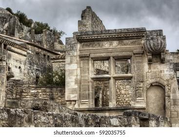 Famous Renaissance Window in the Ruins in Les Baux-de-Provence, Provence, France