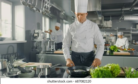 Famous Restaurant Chef Fries Fish on a Hot Pan. He Works in a Modern Kitchen.