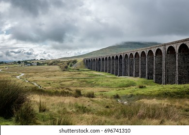 Famous Ribblehead Viaduct in Yorkshire Dales National Park.