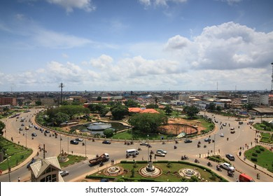 The famous ring road, Benin City-Nigeria. Benin is known for its rich cultural heritage and art . Located here is UNESCO World Heritage site renowned for its bronze casting