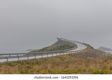 The famous road to nowhere. bridge Norway, Atlantic seaside, Picturesque road between island number 64 from city Kristiansund in city Moldi