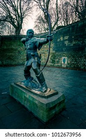 The famous Robin Hood, symbol of Nottingham city and Nottinghamshire county, in the Nottingham Castle, England, United Kingdom.