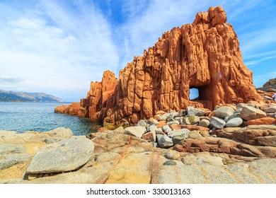 Famous Rocca Rossa (Red Rock) in Arbatax, Sardinia