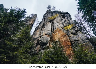 Famous rock formation called Lovers or Milenci in Adrspach sandstone rock city, nothern Bohemia, Czech Republic. Adrspach Sandstone Towers in an autumn colors.