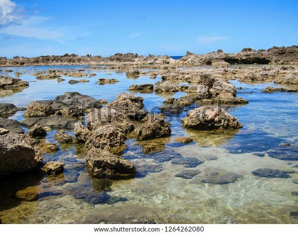 Famous rock formations at North Shore, Oahu, Hawaii