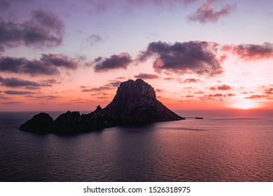 "The famous rock island of ""Es Vedrà"", symbol of the mystic Ibiza, said to have magical properties, and most famous sunset viewing point of Ibiza."
