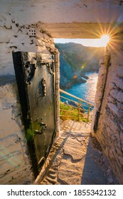 The famous rock Kastri with the small church Agios Ioannis in Skopelos, Sporades, Greece