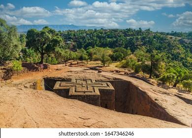 Famous Rock-Hewn Church of Saint George - Bete Giyorgis in Lalibela, Ethiopia