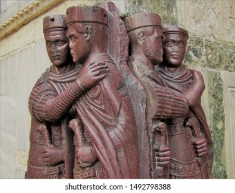"""The famous Roman 4th-century CE statue (made of porphyry) said to depict the """"tetrarchy"""", four emperors ruling the Roman empire jointly. Placed on the exterior wall of St Mark's Basilica, Venice"""