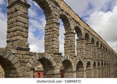 The famous Roman Aquaduct in Segovia, Spain
