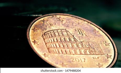 Famous Roman Colloseum on Italian 5 Euro cents coin, macro shot