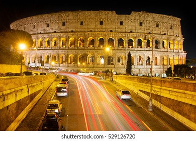 Famous Rome Colosseum at night. Italy