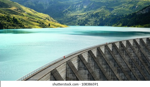 famous Roselend dam in french alps, Savoy, France