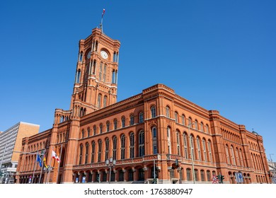 The famous Rotes Rathaus, the town hall of Berlin, Germany, on a sunny day