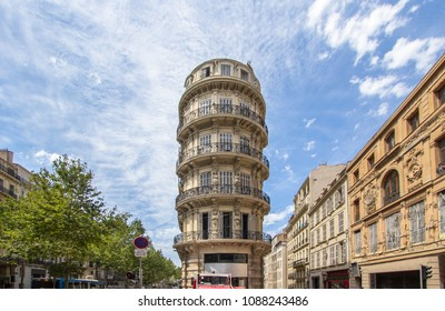 Famous round building on La Canebiere boulevard, Marseille, France