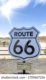 Famous Route 66 black and white sign in Williams, Arizona,