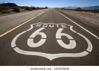 THe famous Route 66 emblem painted on Route 66 in the California Desert