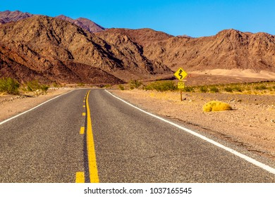 Famous Route 66 going through Death Valley National Park in California