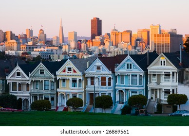 Famous Row of Houses in San Francisco at sunset