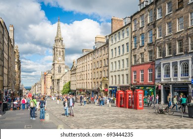 The famous Royal Mile in Edinburgh on a summer afternoon, Scotland. June-29-2017