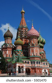 famous Saint Basil's Cathedral in Moscow in summer