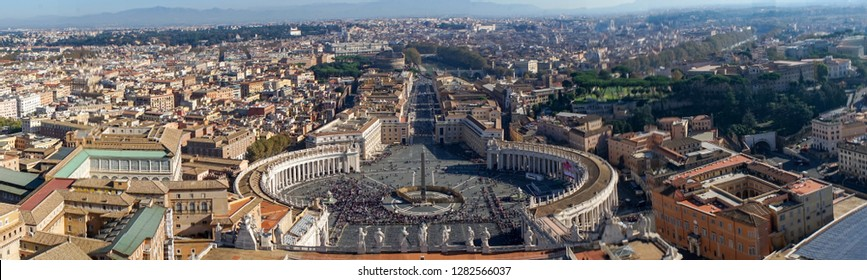 Famous Saint Peter's Square in Vatican, aerial view of the city. Rome, Italy