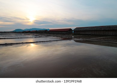 Famous salt fields in Kampot, Cambodia during the sunset
