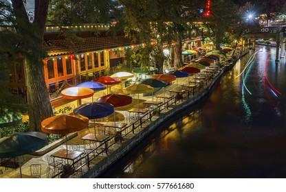 The famous San Antonio Riverwalk in Texas, late at night.
