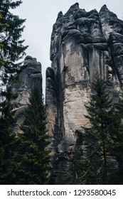 Famous sandstone rock towers of Adrspach and Teplice Rocks. High sand stone towers in Nothern Bohemia, Adrspach and Teplice.
