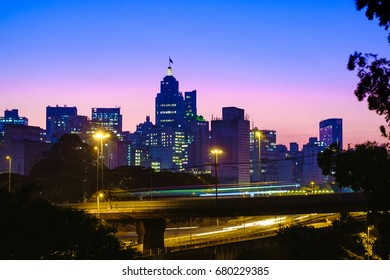 Famous Sao Paulo Skyline at Beautiful Sunset