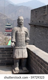 Famous sculpture of ancient terracotta soldiers on Great Wall(China)