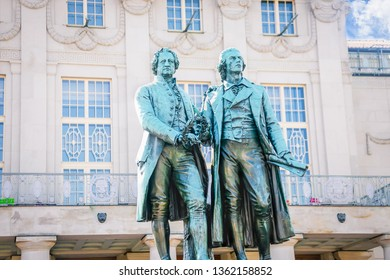 Famous sculpture of Goethe and Schiller in the Weimar, Thuringia, Germany
