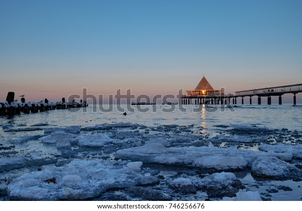 The famous sea bridge of Heringsdorf/Germany in Winter