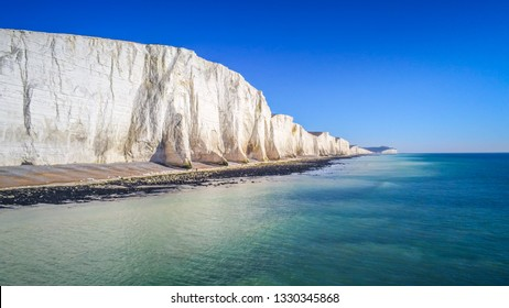 Famous Seven Sisters White Cliffs at the coast of Sussex England - travel photography