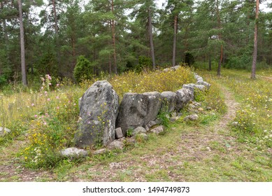 The famous ship setting Tjelvars Grave frome the bronze age, on the swedish island Gotland