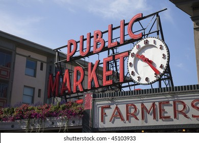 Famous Sign at Pike's Market in Seattle Washington